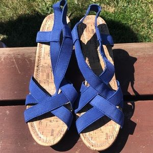 Blue women's wedges.